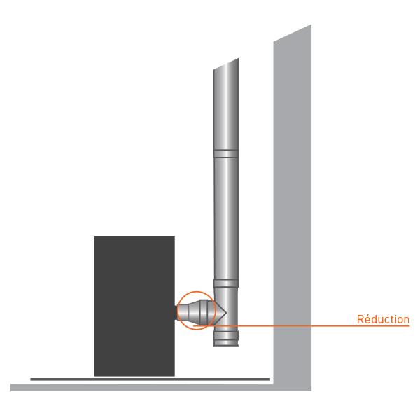Réducteur tubage cheminée diamètre 100-80