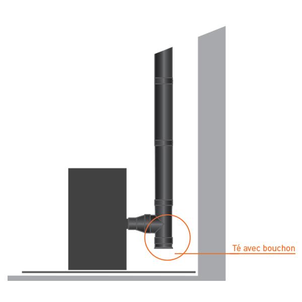 Bouchon pour t double paroi noir anthracite 150 200 - Reducteur cheminee 200 150 ...