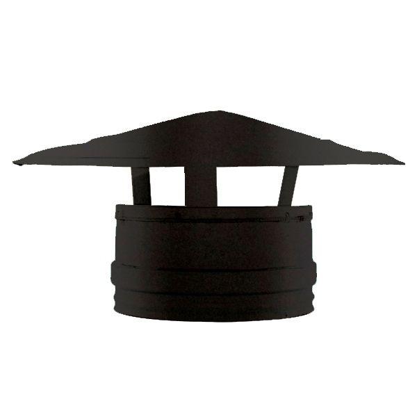 Conduit cheminée - Chapeau Chinois double paroi Noir/Anthracite Ø300-350