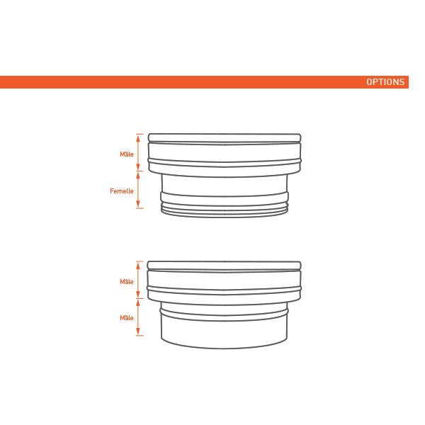 Adaptateur conduit simple à double paroi PRO Noir/Anthracite Ø80-130