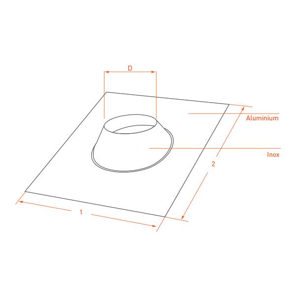 Conduit cheminée - Solin d'étancheité Aluminum-inox Noir/Anthracite Ø250