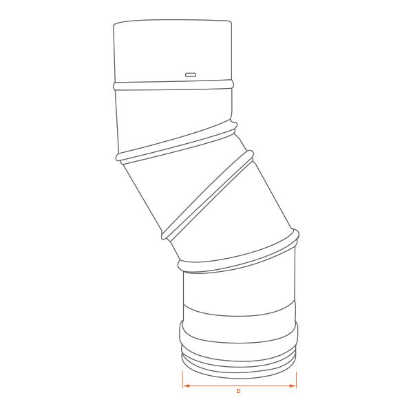 Coude angle ajustable pour tubage poêle à bois 140
