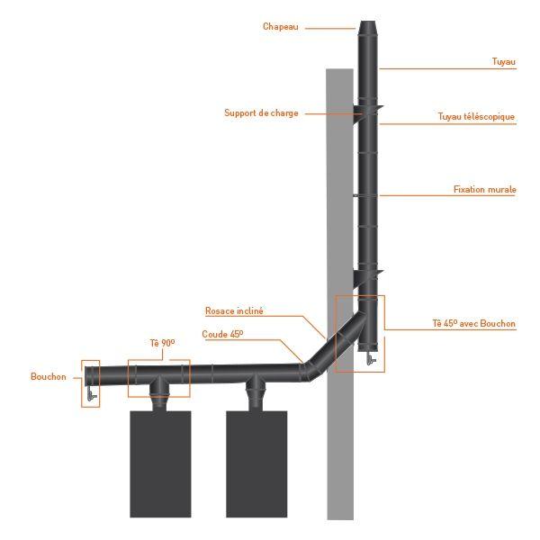 Rosace cheminée toiture incliné Noir/Anthracite 350
