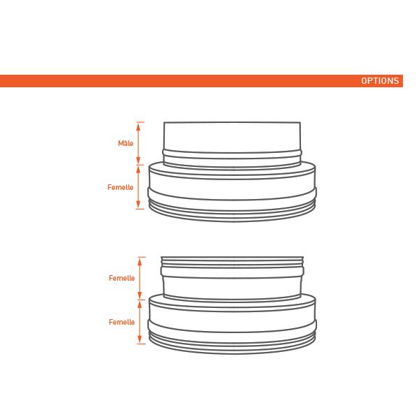 Adaptateur conduit double à simple paroi PRO diam. 125-175