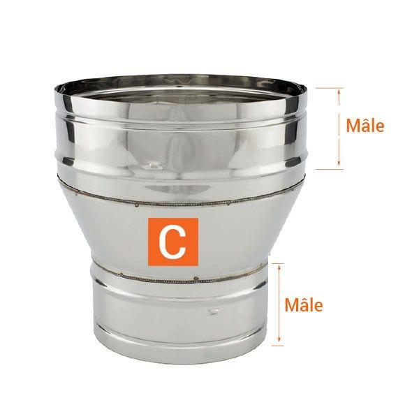 Réducteur tubage cheminée diamètre 200-120