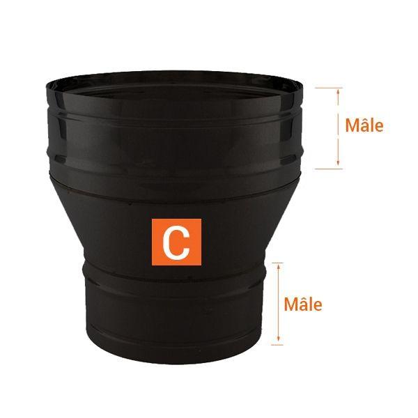 Réducteur tubage cheminée PRO Noir/Anthracite Ø200-150