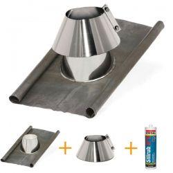 Kit d'abergement cheminée - Solin d'étanchéité en plomb-inox Ø 130 mm