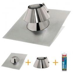 Kit d'abergement toiture plat - Solin d'étanchéité en inox Ø 140 mm