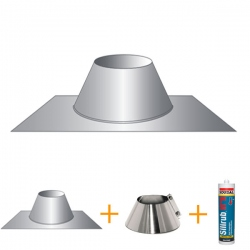 Kit d'abergement - Solin d'étanchéité cheminée pour toit terrasse Ø125
