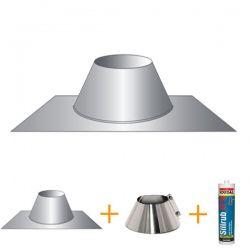 Kit d'abergement - Solin d'étanchéité cheminée pour toit terrasse Ø130