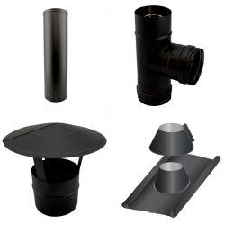 Kit conduit cheminée simple paroi Noir/Anthracite Longueur 3,5m en diamètre 100