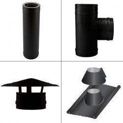 Kit conduit cheminée double paroi Noir/Anthracite Longueur 3,5m en diamètre 80-130