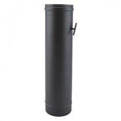 Tuyau de poêle à clé de tirage en Inox Noir diamètre 130