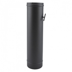 Tuyau de poêle à clé de tirage en Inox Noir diamètre 140