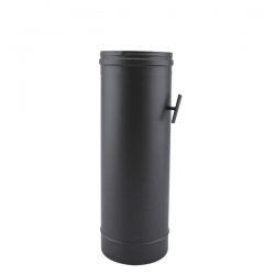 Tuyau de poêle régulateur de tirage en Inox Noir diamètre 100