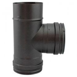 Conduit cheminée - Té à 90° Inox simple paroi Noir-Anthracite diamètre 80
