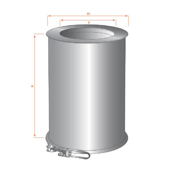 Tubage chemin e double paroi r novation diam 150 mm pas - Reducteur cheminee 200 150 ...
