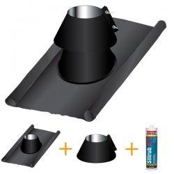 Solin d'étancheité plomb-inox PRO Noir / Anthracite Ø140