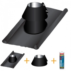 Solin d'étancheité plomb-inox PRO Noir / Anthracite Ø160