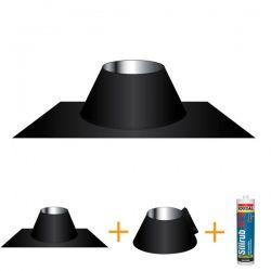Conduit cheminée - Solin d'étancheité Aluminum-inox Noir/Anthracite Ø140