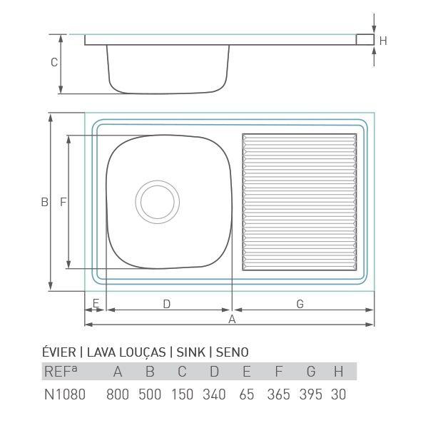 Évier à encastrer CASCADE 1 cuve + égouttoir 80 x 50
