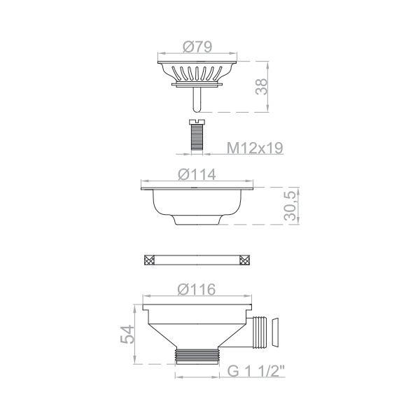 bonde panier en inox pour vier de cuisine 115 mm trachemin e. Black Bedroom Furniture Sets. Home Design Ideas