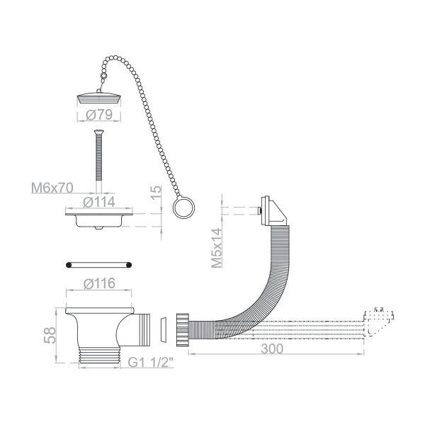 Bonde inox à bouchon plastique pour évier cuisine Ø 70 mm
