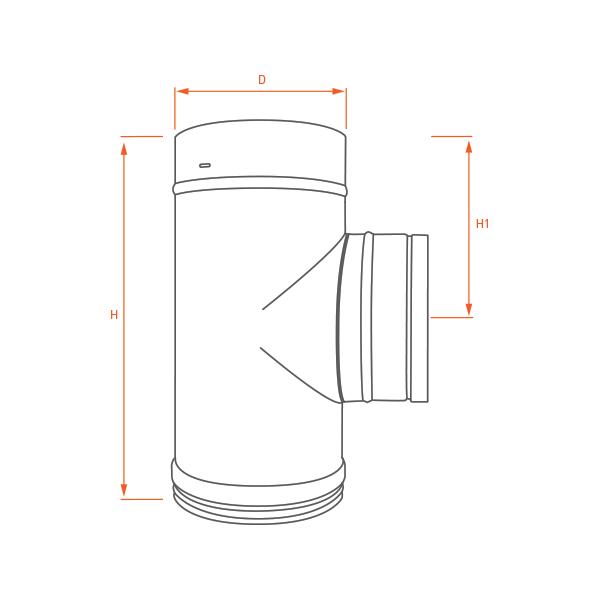 Conduit cheminée - Té 90° Avec bouchon Inox Simple Paroi Noir/Anthracite Ø250