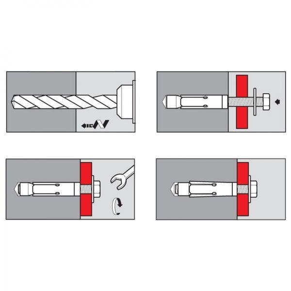 Chevilles sécurité Inox-A2 304 vis tête hexagonale 8 x 60 mm