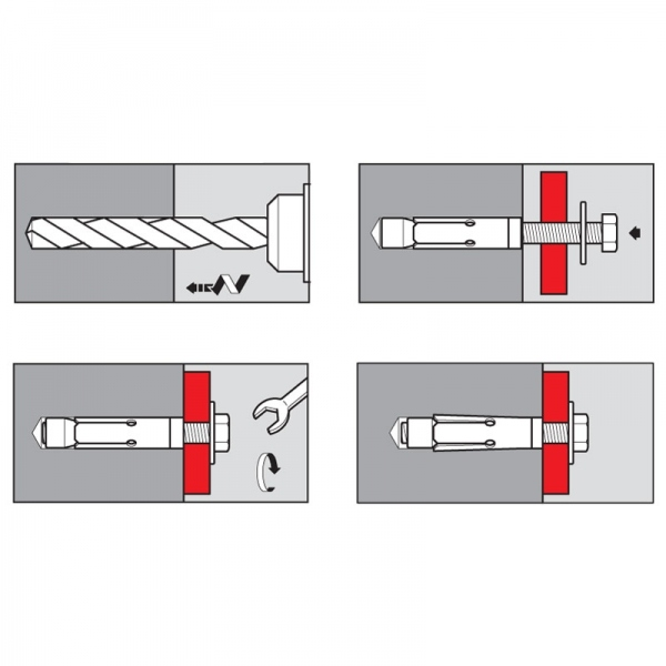 Chevilles métallique à expansion Inox-A4 316 8 x 45 mm