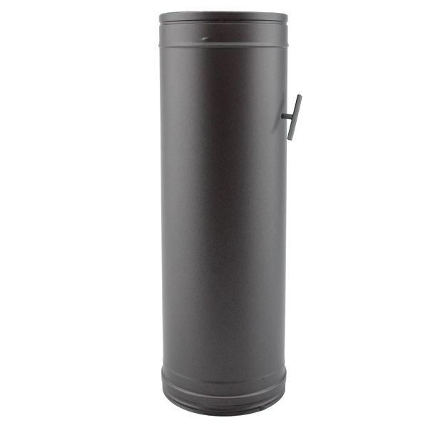 Tuyau poêle à clé tirage double paroi 1M Noir diamètre 300